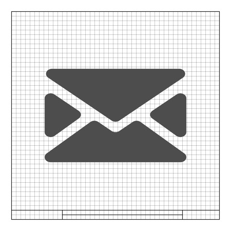 Flat paper cut style icon of envelope. E-mail symbol