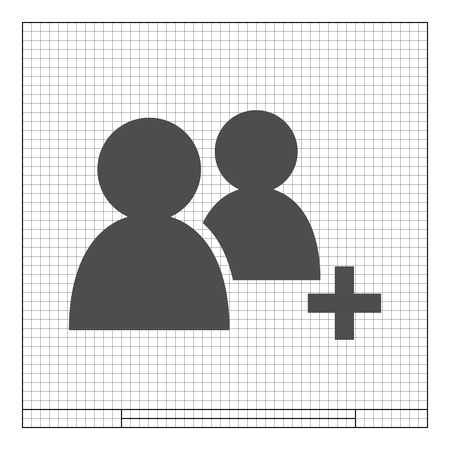 new account: Add new user account flat icon for apps. Vector illustration