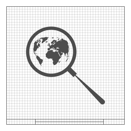zoom earth: Analyzing the world. Magnifier glass with globe vector illustration Illustration