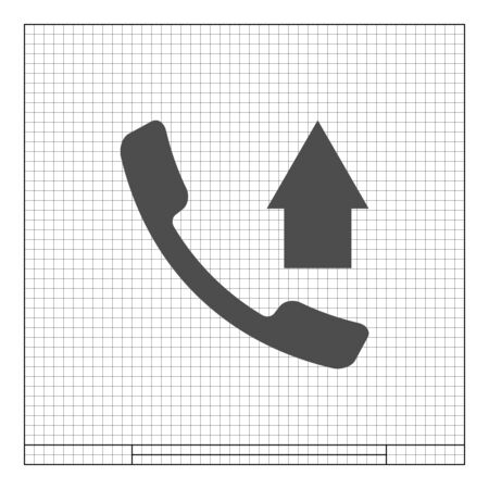 Flat paper cut style icon of out-coming call. Vector illustration