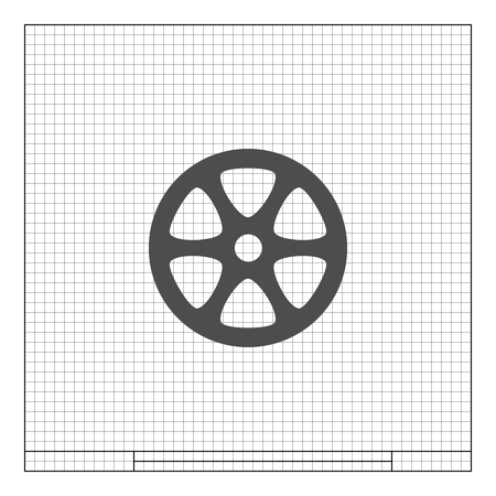 unwound: Flat paper cut style icon of old tape spool. Vector illustration