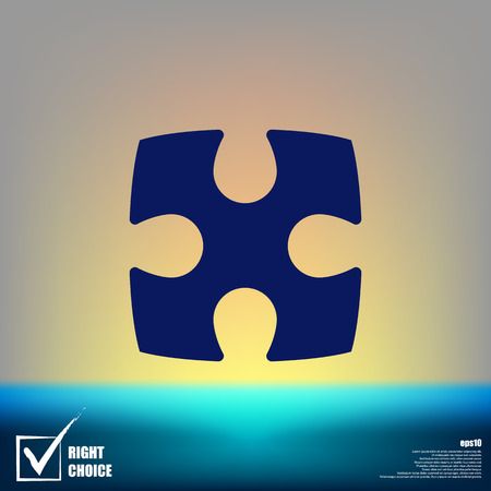 Flat paper cut style icon of puzzle part