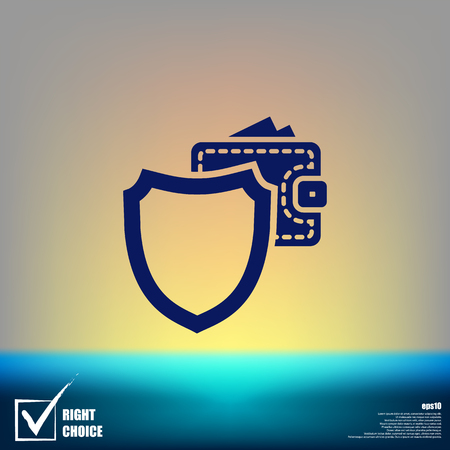 Wallet Protection Icon. Flat design style stock vector illustration