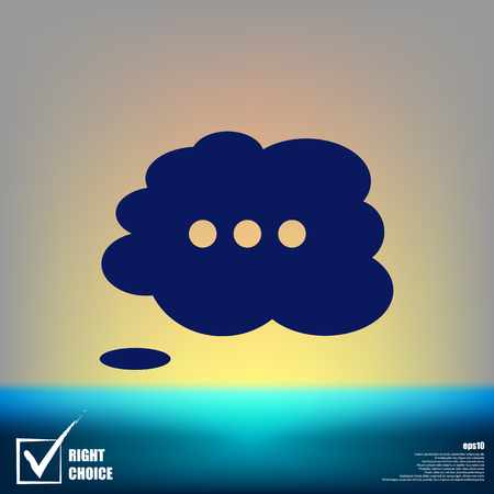 thought cloud: Thought cloud with lines flat vector icon