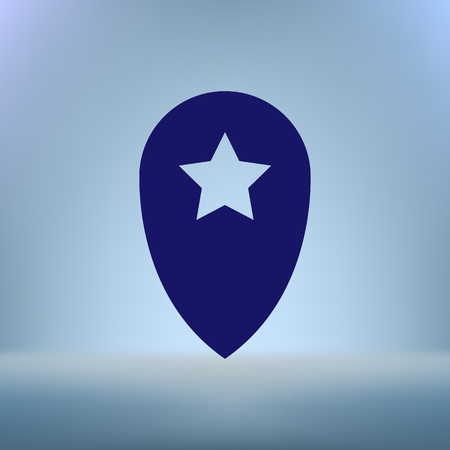 point of interest: Star favorite pin map icon