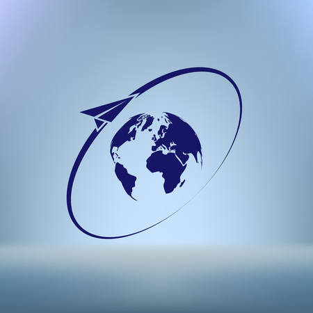 fly around: Airplane fly around the planet Earth. Logo.