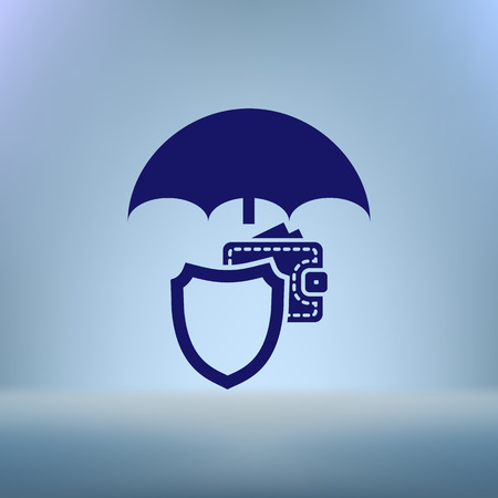 weatherproof: Wallet Protection Icon. Flat design style stock vector illustration