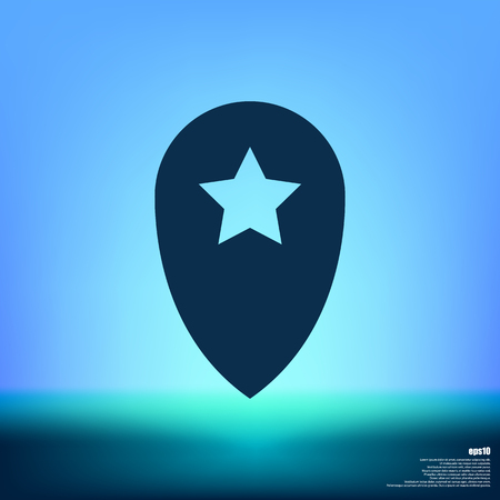 Star favorite pin map icon