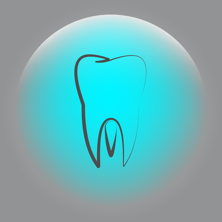 Flat paper cut style icon of tooth. Dentistry symbol icon vector illustration Illustration