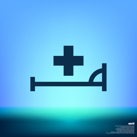 Vector icon with bed and cross. Hospital sign Illustration