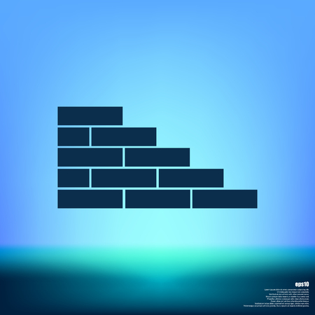 Flat paper cut style icon of brickwork fragment. Vector illustration
