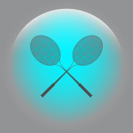 Tennis racket silhouettes stock vector icon illustration