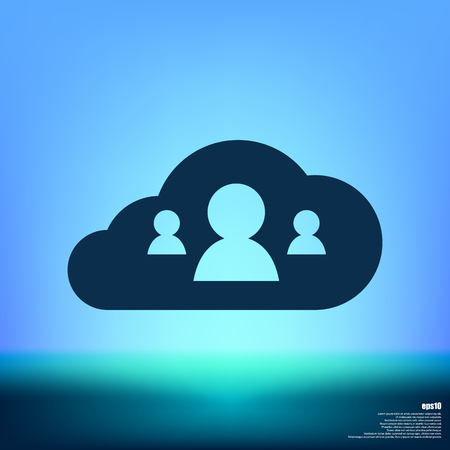 cloud service: customers connected to cloud service vector illustration