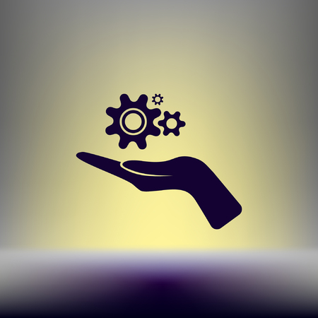 Hand and mechanism vector icon
