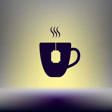 decaf: Flat paper cut style icon of hot tea cup. Vector illustration