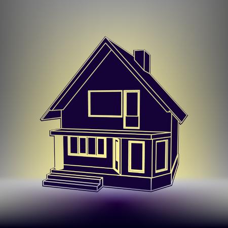 ortseingangsschild: Der Aufbau der 3D-Perspektive. Zeichnung des Vorstadthauses. Haus 3D-Modell Perspektive Vektor Illustration