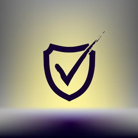 Shield check mark logo icon design template elements Illustration