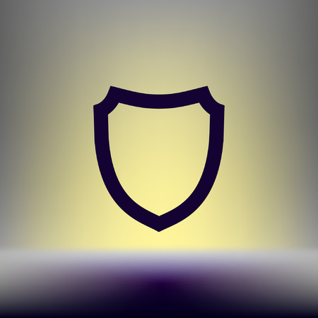 firewall: Flat paper cut style icon of a shield. Vector illustration