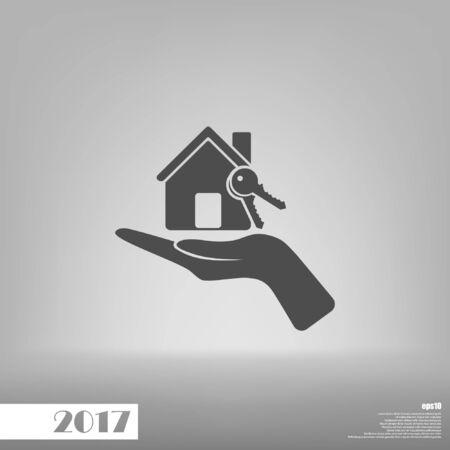 Flat paper cut style icon of home and keys. Vector illustration Ilustração Vetorial