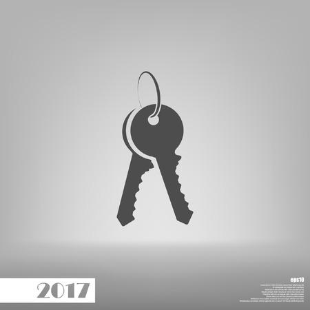 door lock love: Flat paper cut style icon of an old key. Vector illustration Illustration