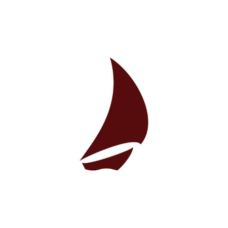 Sailing logo, yacht on waves vector icon Illustration