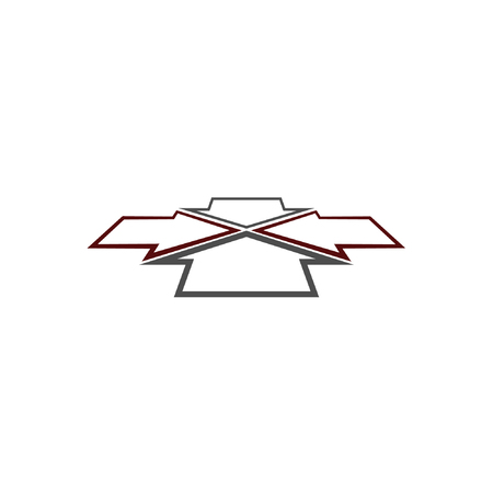 Four arrows facing each other in perspective. Flat vector icon