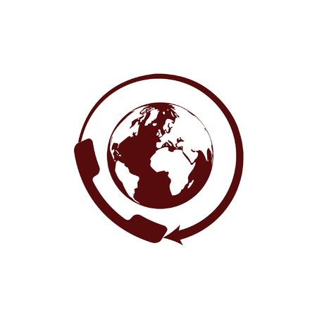 around the clock: Worldwide customer support call-center. Flat vector stock icon Illustration