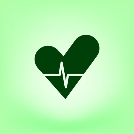 cardiograph: The heart and cardiogram flat sock vector icon Illustration