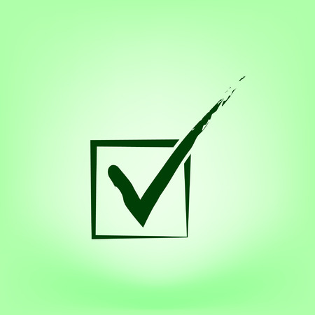 proceed: Flat paper cut style icon of check box. Vector illustration