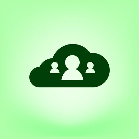 data backup: Customers connected to cloud service vector icon Illustration