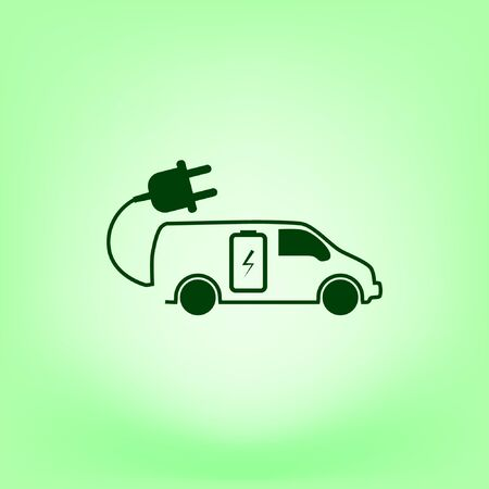 Flat icon of an eco car