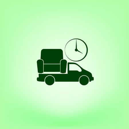Flat paper cut style icon of vehicle. Delivery car symbol vector illustration