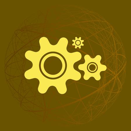 cogwheel: Flat paper styled icon of cogwheels. Vector illustration Illustration