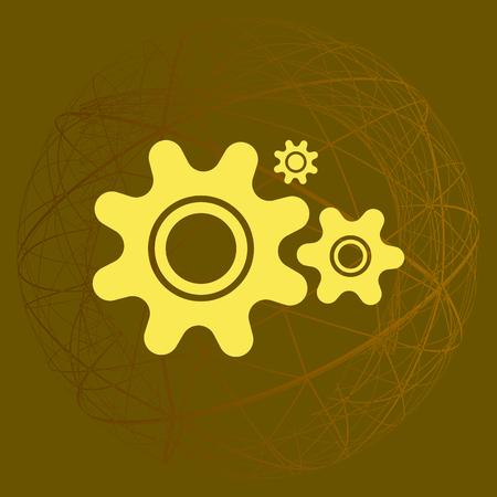 Flat paper styled icon of cogwheels. Vector illustration Illustration
