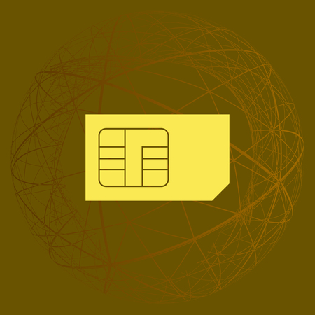 smart card: Flat paper cut style icon of a sim card. Vector illustration
