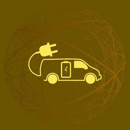 filling station: Flat icon of an eco car