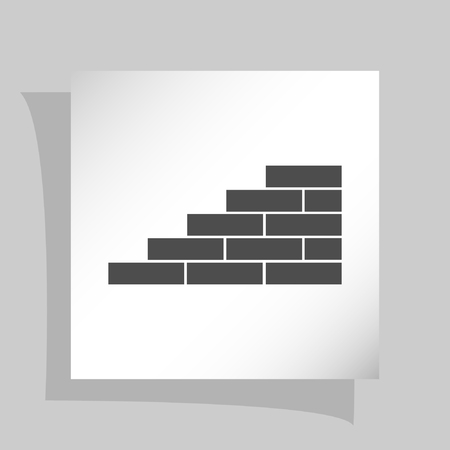 Flat paper cut style icon of brickwork fragment. Vector illustration