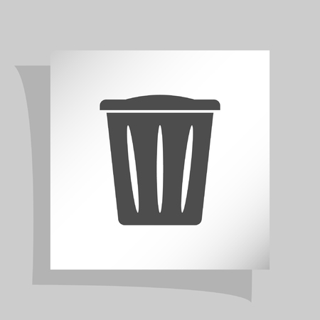 dispose: Flat paper cut style icon of trash can. Vector illustration
