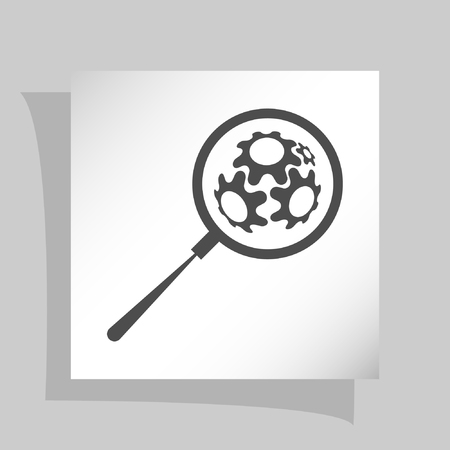 computing machine: Flat paper cut style icon of magnifier. Vector illustration