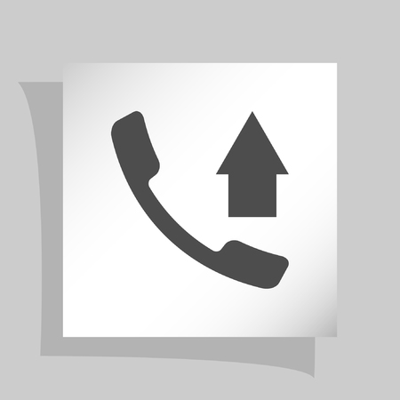 call log: Flat paper cut style icon of out-coming call. Vector illustration