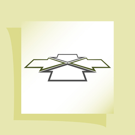 facing each other: Four arrows facing each other in perspective. Flat vector icon