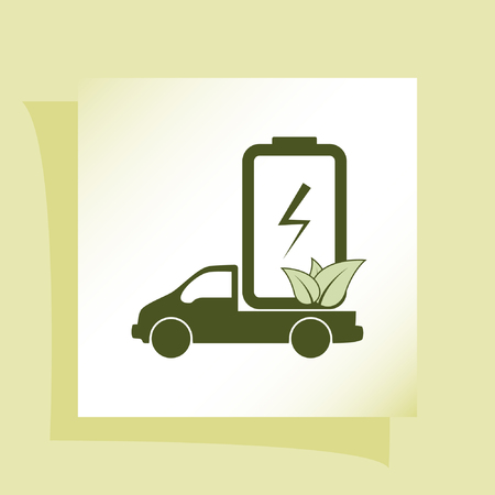 motorizado: Flat paper cut style icon of eco vehicle. Delivery car symbol vector illustration