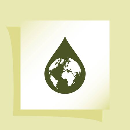 environmental awareness: Earth in water-drop stock vector icon illustration