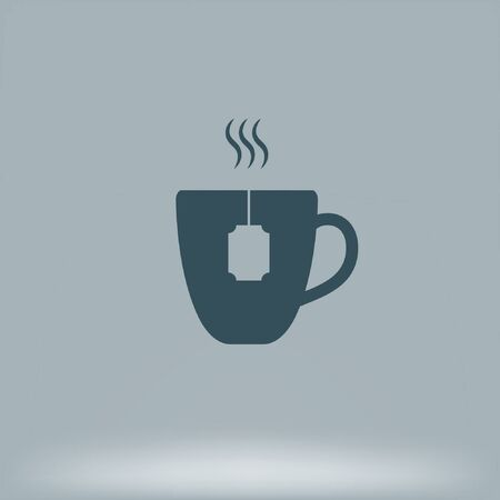 Flat paper cut style icon of hot tea cup Иллюстрация