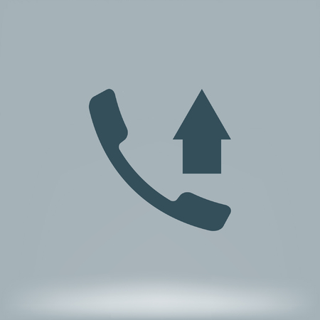 Flat paper cut style icon of out-coming call. Illustration
