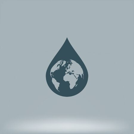 environmental awareness: Earth in water-drop stock icon illustration Illustration