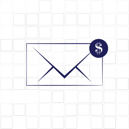 rebate: Envelope and coin business icon.