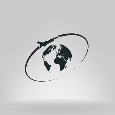 Vliegtuig vliegt rond de planeet Aarde. Logo.
