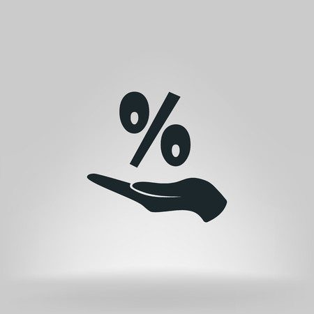 Discount percent with hand icon