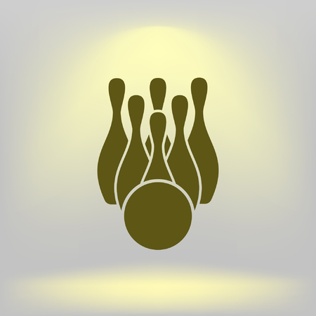 Simple style bowling icon Illustration